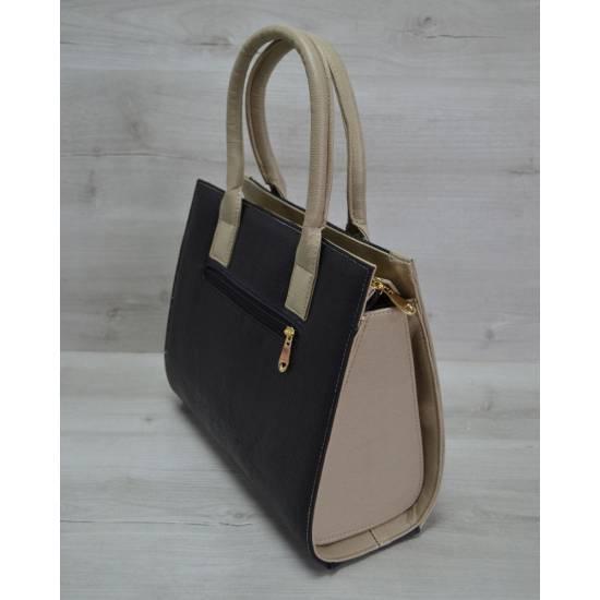 Женская каркасная сумка бежевого цвета