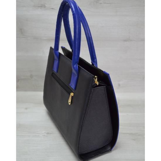 Женская каркасная сумка черно-синего цвета