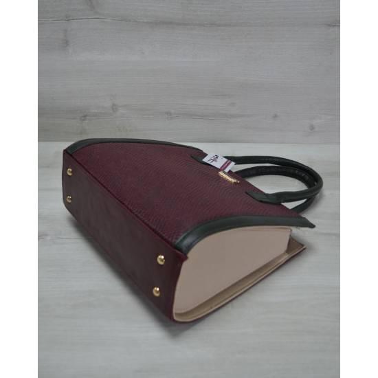 Женская каркасная сумка бордового цвета