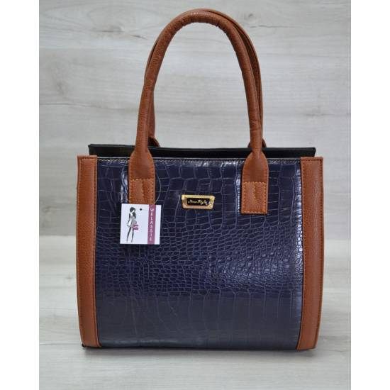 Женская каркасная сумка сине-рыжего цвета
