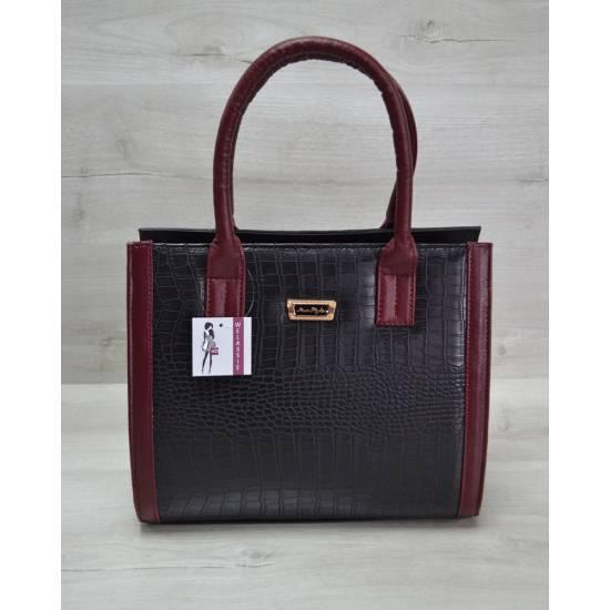 Женская каркасная сумка черно-бордового цвета