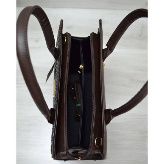 Женская каркасная сумка коричневого цвета