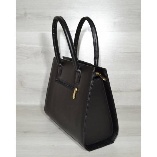 Женская каркасная сумка черного цвета с замшевой вставкой
