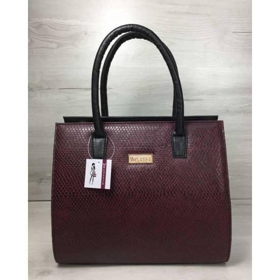 Женская каркасная сумка черного цвета со вставкой