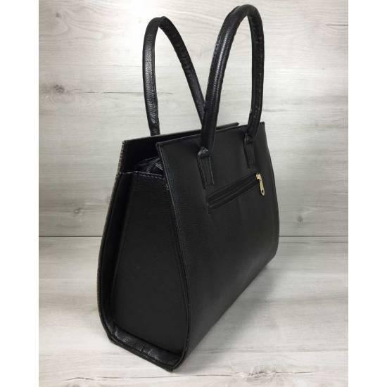 Женская каркасная сумка черного цвета со вставкой кофейного цвета