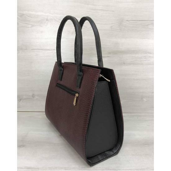 Женская каркасная сумка бордового цвета со вставкой черный замш