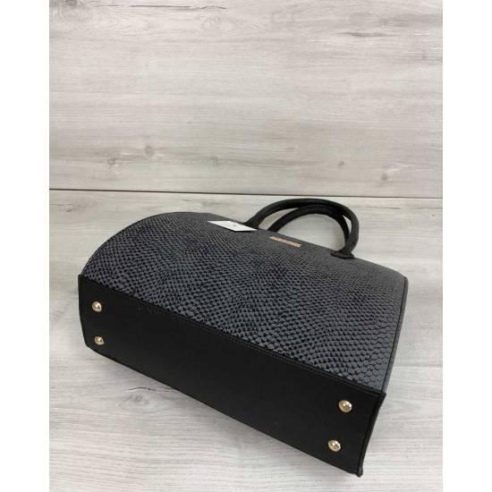 Женская каркасная сумка серого цвета
