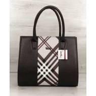 Женская каркасная сумка коричневая со вставкой