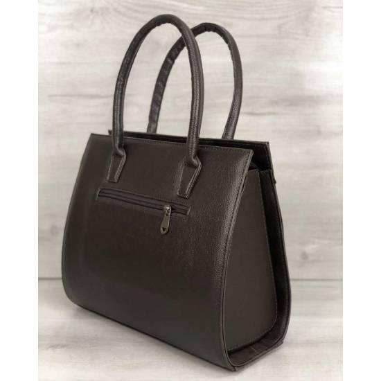 Женская каркасная сумка коричневочерного цвета