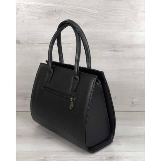 Женская каркасная сумка черного цвета со вставкой барбери
