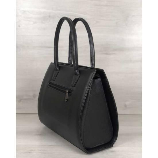 Женская каркасная сумка черного цвета со вставкой черного цвета