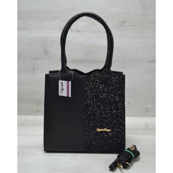 Классическая женская сумка черного цвета с черными блестками
