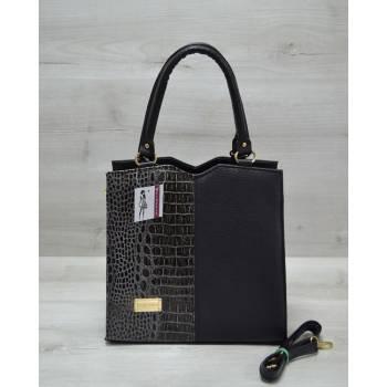 Классическая женская сумка черно-серого цвета