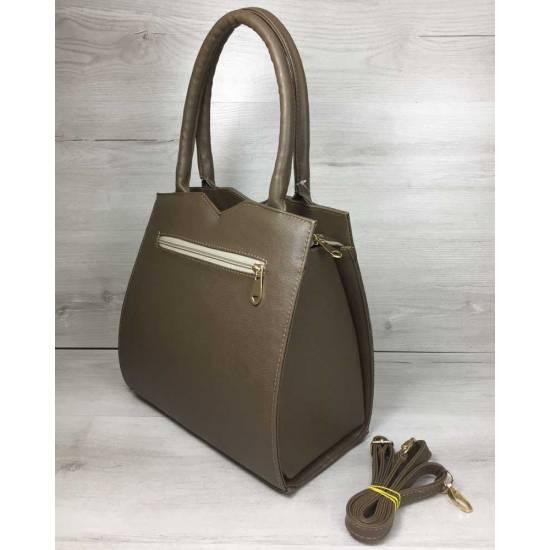 Классическая женская сумка кофейного цвета со вставкой
