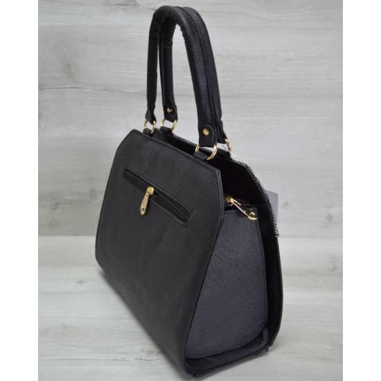Женская сумка черно-серебряного цвета