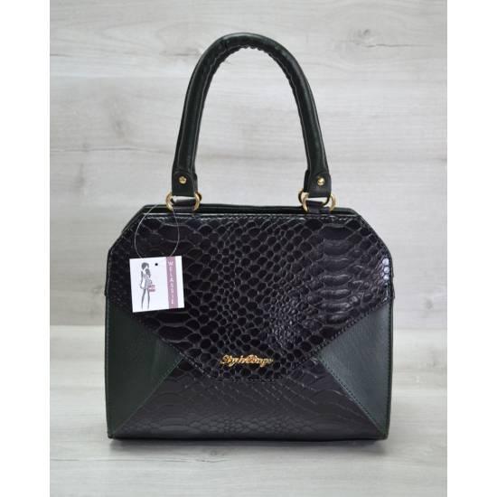 Женская сумка черно-зеленого цвета