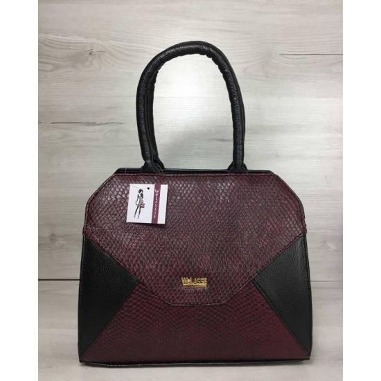 Женская сумка бордово-черного цвета