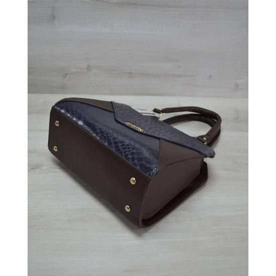 Женская сумка коричнево-синего цвета