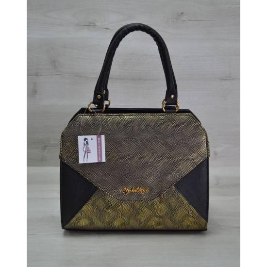 Женская сумка черно-золотистого цвета