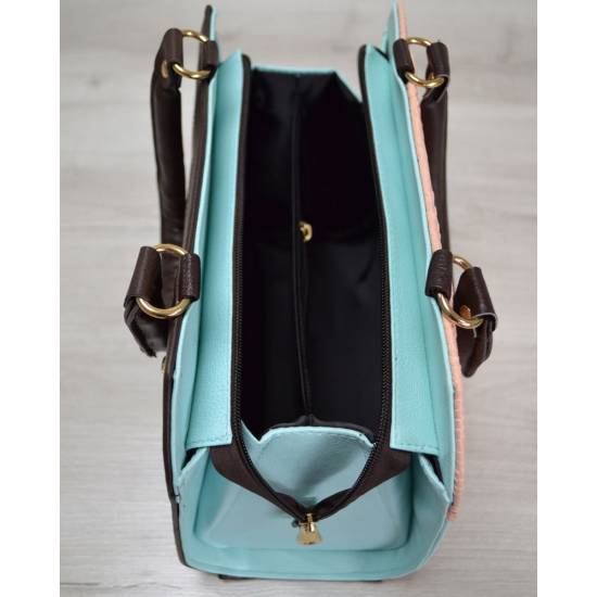 Женская сумка бежево-голубого цвета