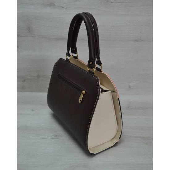 Женская сумка пудрового цвета с коричневой вставкой