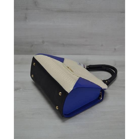 Женская сумка цвета электрик со вставкой бежевого цвета