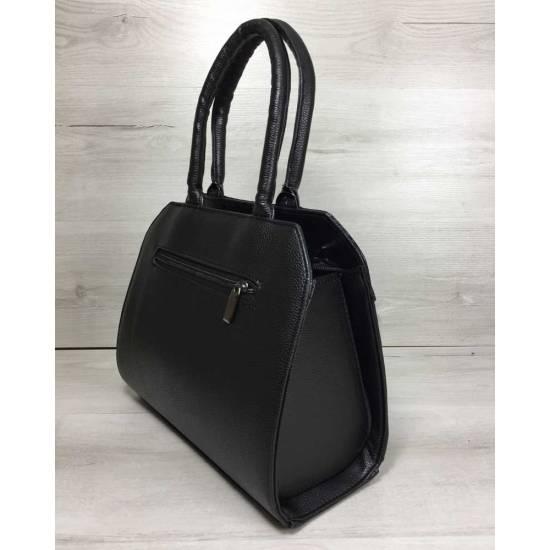 Женская сумка черного цвета со вставкой черного цвета
