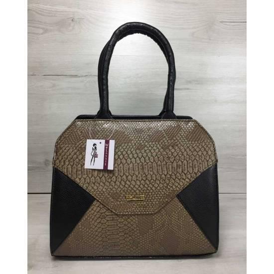 Женская сумка черного цвета со  вставкой кофейного цвета