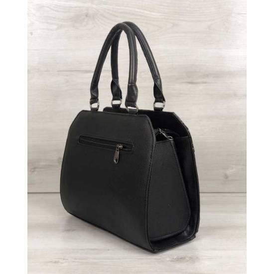 Женская сумка черного цвета со вставкой серого цвета