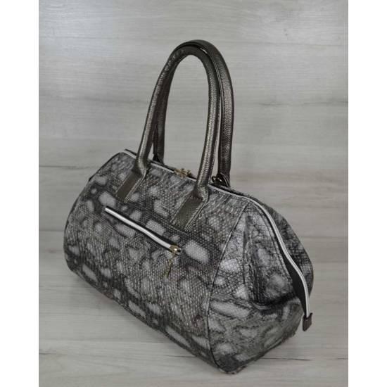 Классическая женская сумка серого цвета