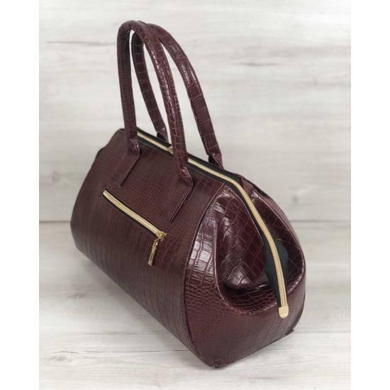 Классическая женская сумка бордового цвета