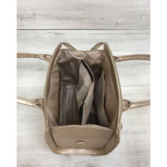 Женская сумка золотого цвета со вставкой бежевого цвета