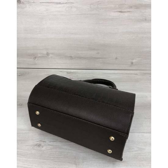 Женская сумка коричневого цвета со вставкой
