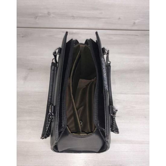 Каркасная женская сумка черного цвета со вставкой блеск