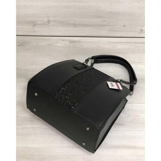 Каркасная женская сумка черного цвета со вставкой черный блеск