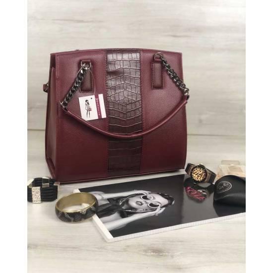 Каркасная женская сумка бордового цвета