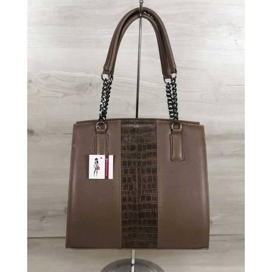 Каркасная женская сумка кофейного цвета со вставкой