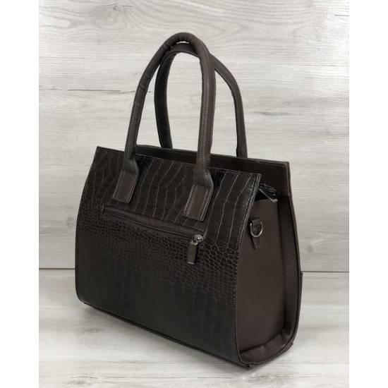 Каркасная женская сумка шоколадного цвета с цепочкой