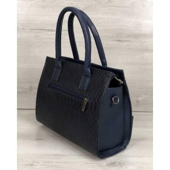 Каркасная женская сумка синего цвета с цепочкой