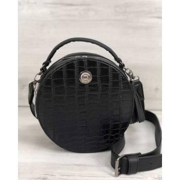 Стильная женская сумка черного цвета со вставкой