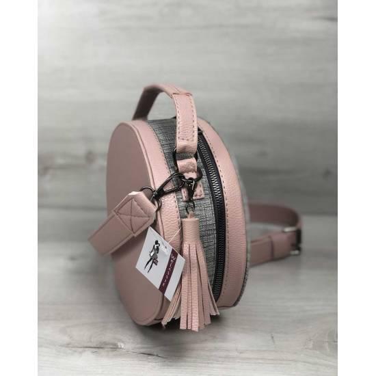 Стильная женская сумка пудрового цвета со вставкой серого цвета