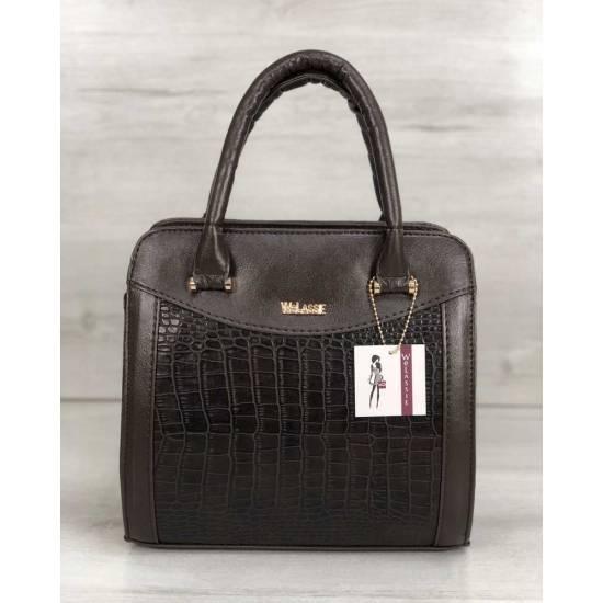 Каркасная женская сумка коричневого цвета