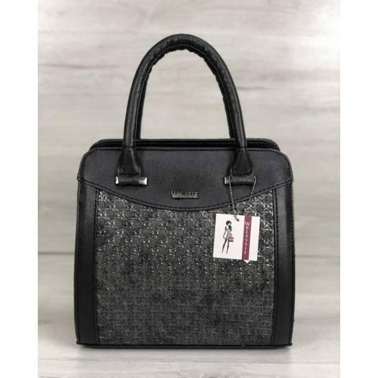 Каркасная женская сумка черного цвета со вставками серебряного цвета