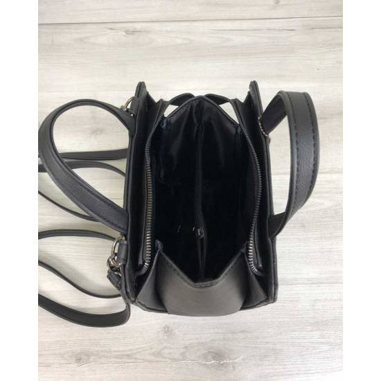 Женский каркасный сумка-рюкзак черного цвета