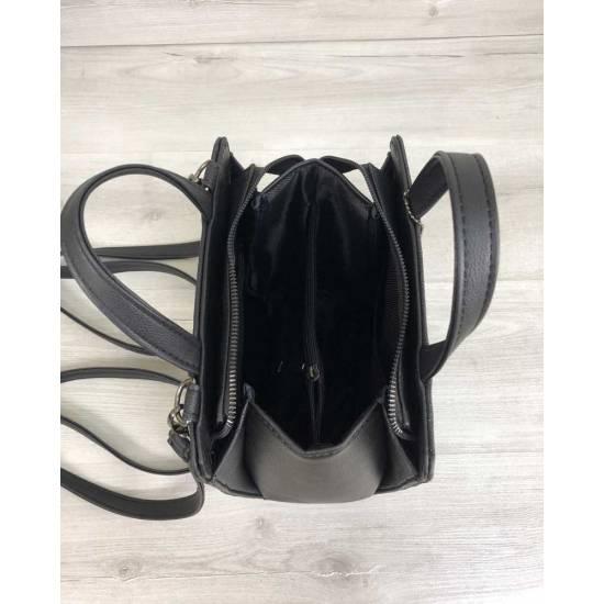 Каркасная сумка-рюкзак черного цвета со вставкой серого цвета