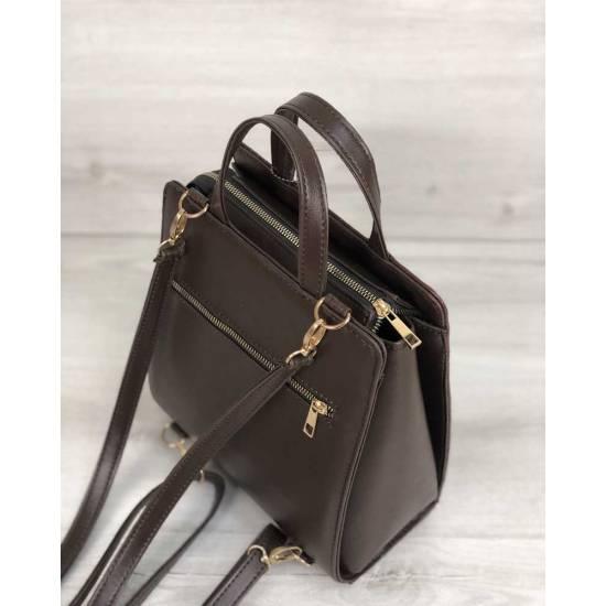 Каркасный женский сумка-рюкзак коричневого цвета