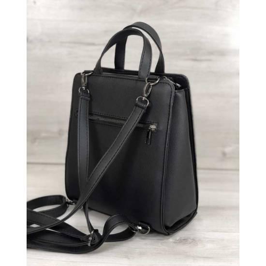 Каркасная женская сумка-рюкзак черного цвета со вставкой серебряного цвета
