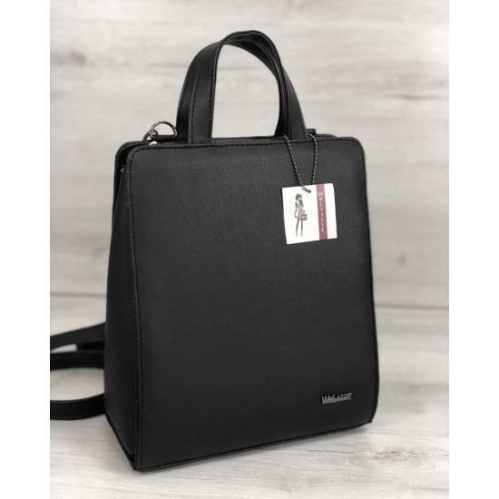 Каркасная женская сумка-рюкзак черного цвета