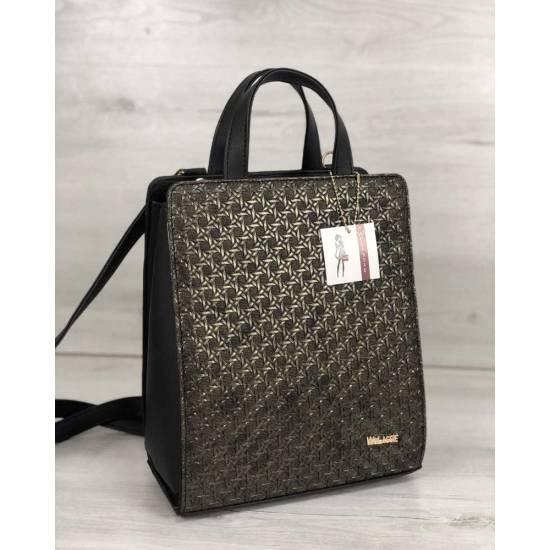 Рюкзак-сумка черного цвета со вставкой золотистого цвета