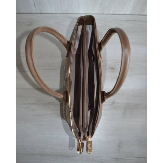 Стильная сумочка кофейного цвета с рисунком